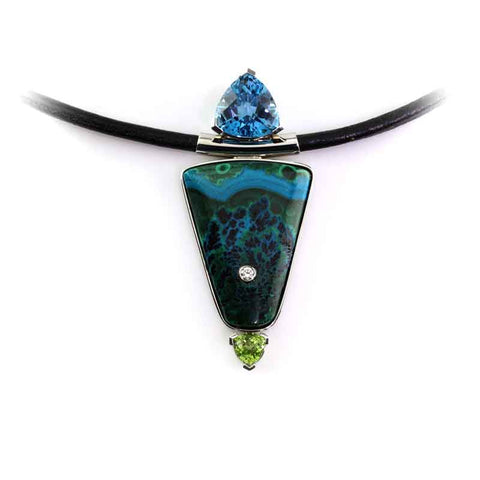 Blue Topaz, Peridot, Diamond in Malachite Azurite inlay pendant leather cord