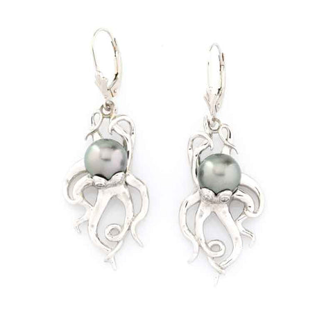 Octopus Earrings - Tahitian Pearl
