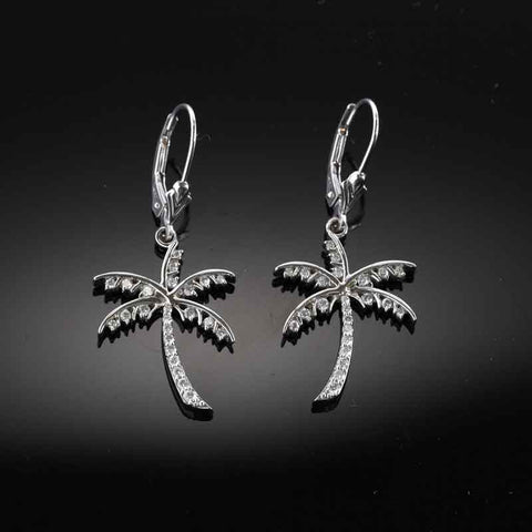 Palm Tree Earrings - Diamond Pave