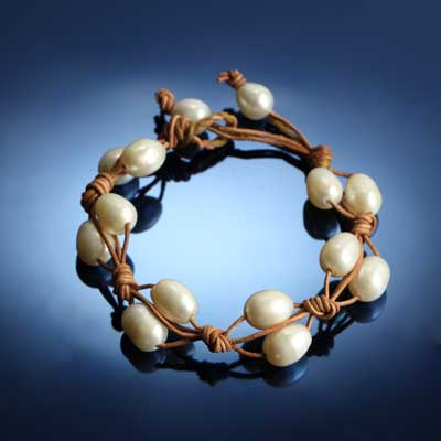 2 Strand Pearl and Leather Bracelet