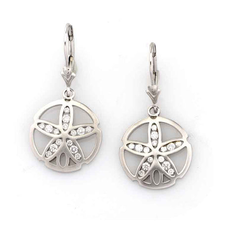Diamond Sand Dollar Earrings - Channel set