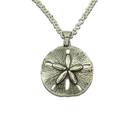 Sand Dollar Pendant Necklace - Full Silver