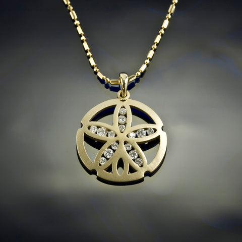 Diamond Sand Dollar Pendant Necklace - Gold Channel diamond