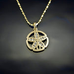 Diamond Sand Dollar Pendant Necklace - Small Gold channel diamodn
