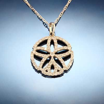 Sand Dollar Pendant - Diamond Pave and Gold