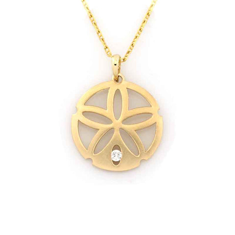 Sand Dollar Pendant Necklace - Single Diamond Gold