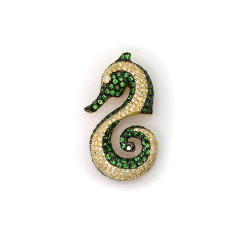 Seahorse Pendant - Green Garnet and Diamond