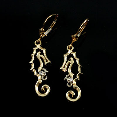 Seahorse with Baby Earrings - Diamond and Gold