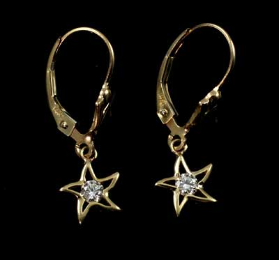 Starfish Diamond Solitaire Earrings