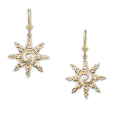 Sun Earrings - Diamond Spiral