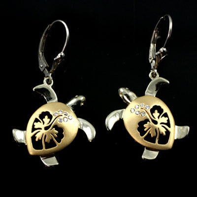 Turtle Hibiscus Earrings - Diamond