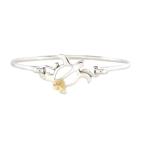 Turtle Hibiscus Bracelet - Wire - Sterling Silver and 10K YG