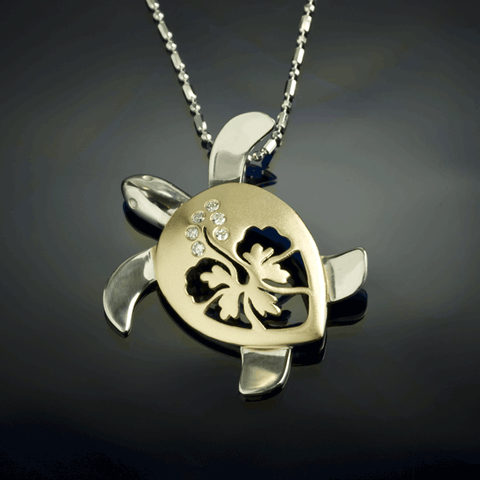 Turtle Hibiscus Pendant - Diamond Large