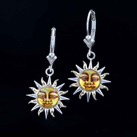 Sun Earrings - Amber Two Tone