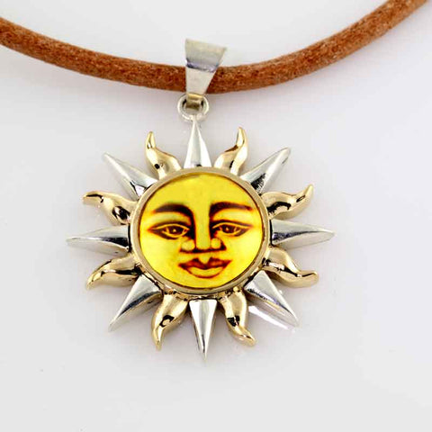 Sun Pendant - Amber Two Tone Sterling Silver and 10K YG
