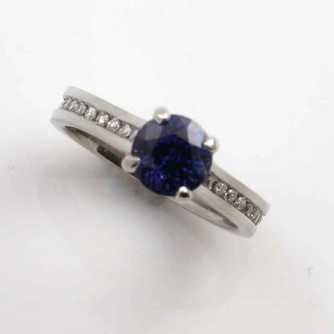 Blue Sapphire Diamond Channel set ring 14K WG