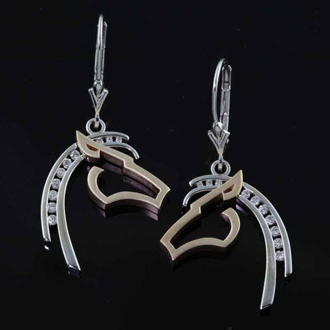 Horse Earrings - Diamond Silhouette
