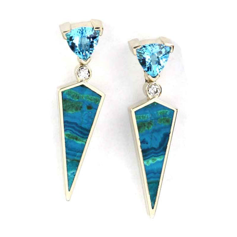 Malachite Azurite Chrysacolla Topaz Earrings