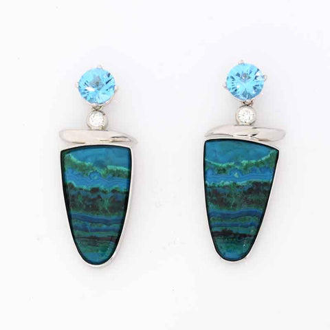 Malachite Azurite Topaz Earrings
