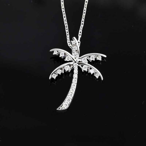 Palm Tree Pendant - Diamond Pave