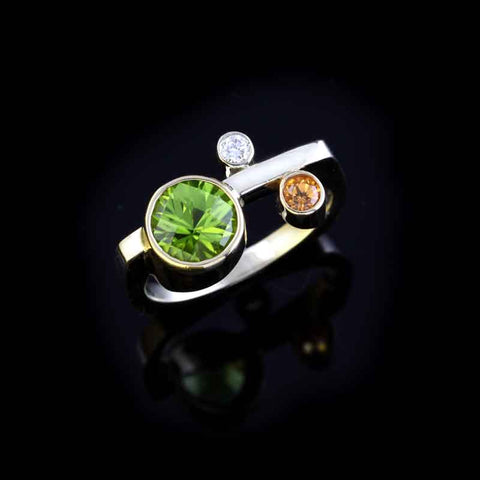 Peridot Spessartite Diamond Ring