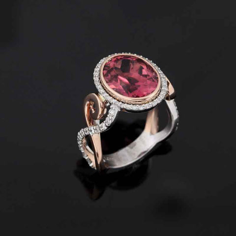 Salmon Tourmaline Diamond Ring