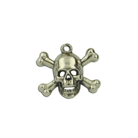 Skull and Crossbones Charm - Sterling Silver