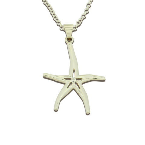 Starfish Pendant Necklace - Large - Sterling Silver