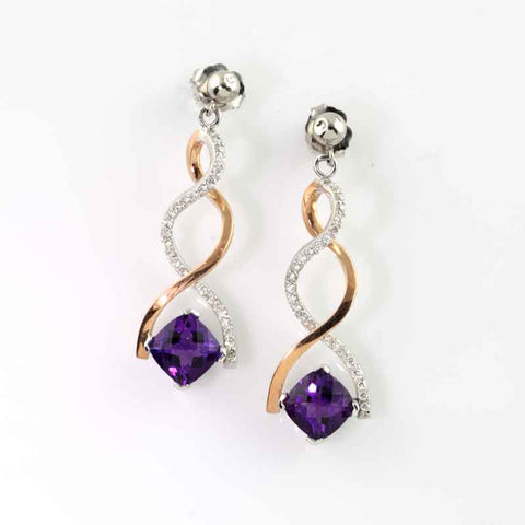Diamond and Amethyst Twist Earrings