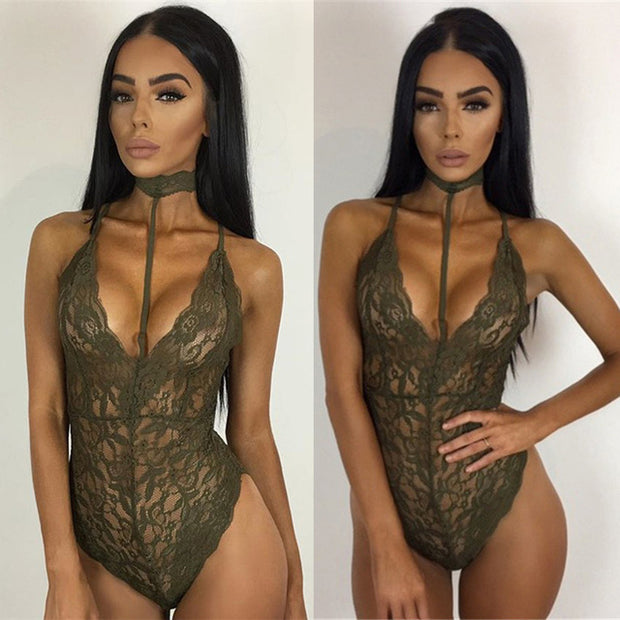 Teddies Deep V Neck Bodysuits