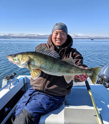 massive walleye caught using ram lure fishing crawler harness.