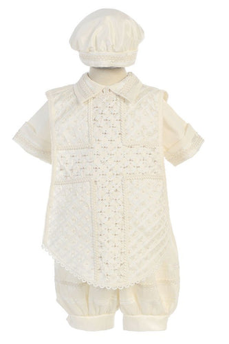 Baby Boys Ivory Christening Romper with Collar & Quilted Design - The Christening Cottage
