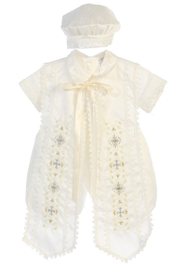 Baby Boys Embroidered Baptismal Romper in Ivory & White - The Christening Cottage