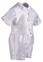 Load image into Gallery viewer, White Shantung 4 Piece Baptismal Short Set with Cross & Grape Vines