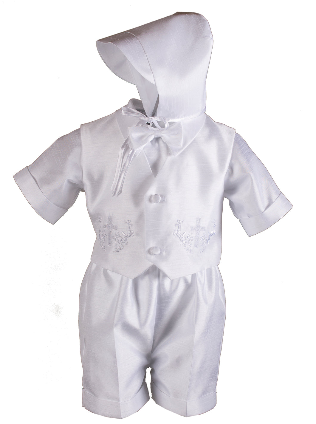 White Shantung 4 Piece Baptismal Short Set with Cross & Grape Vines