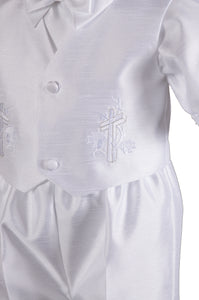 White Shantung 4 Piece Baptismal Short Set with Cross & Grape Vines - The Christening Cottage