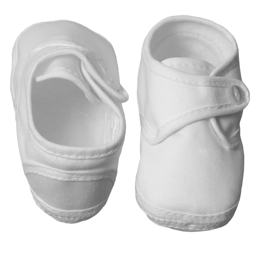 Cotton Sateen Christening Booties with Pearl Button