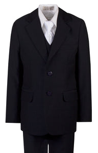Navy Slim Communion Suit Featuring Handmade Religious Cross Neck Tie