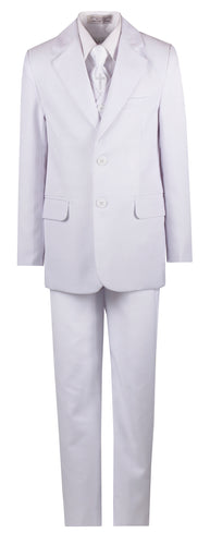 White Slim Communion Suit Featuring Handmade Religious Cross Neck Tie - The Christening Cottage