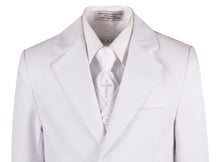 Load image into Gallery viewer, White Slim Communion Suit Featuring Handmade Religious Cross Neck Tie