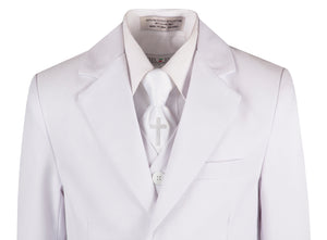 White Slim Communion Suit Featuring Handmade Religious Cross Neck Tie