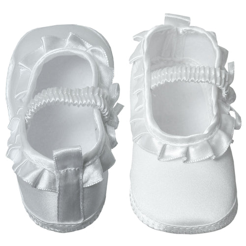 Baby Satin Booties with Ruffles & Elastic Foot Strap Newborn to 7 Months - The Christening Cottage