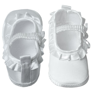 Baby Satin Booties with Ruffles & Elastic Foot Strap Newborn to 7 Months