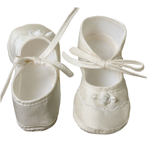 Newborn Girls Silk Dupioni Shoes with Ribbon Rosette & Ankle Ribbons - The Christening Cottage