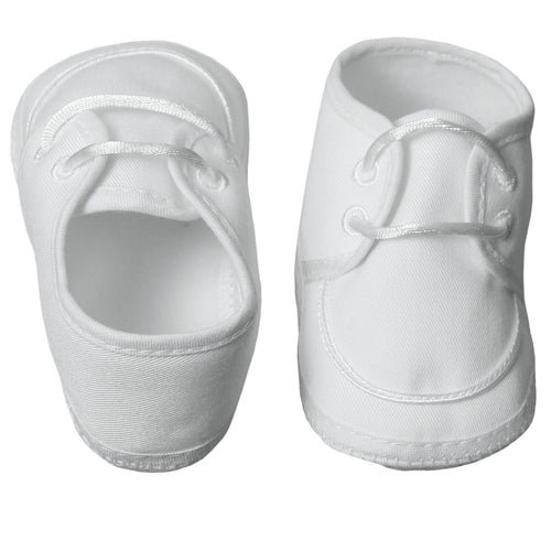 White Polyester Gabardine Booties - The Christening Cottage