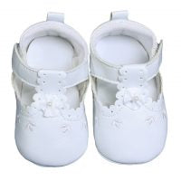 Load image into Gallery viewer, Baby Girls White Faux Leather Crib Shoe with Perforation Accents - The Christening Cottage