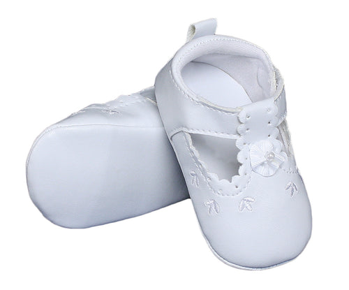 Baby Girls All White Faux Leather Mary Jane Crib Shoe with Perforation Accents - The Christening Cottage
