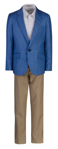 Fouger Boys Checkered Slim Fit Designer Suit with Khaki Pants - The Christening Cottage