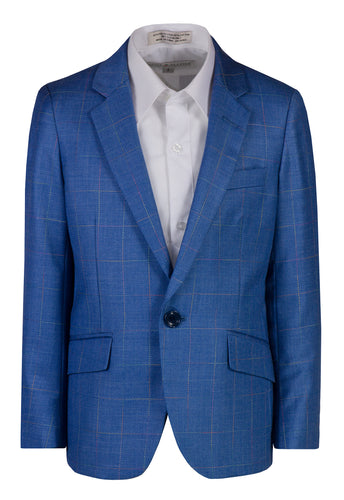 Boys Soft Royal Blue Checkered Blazer Toddlers 1 - Boys 20 - The Christening Cottage