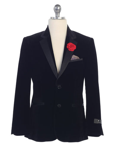 Boys Black Velvet Blazer with Lapel Pink and Hanky Sz 8-20 - The Christening Cottage